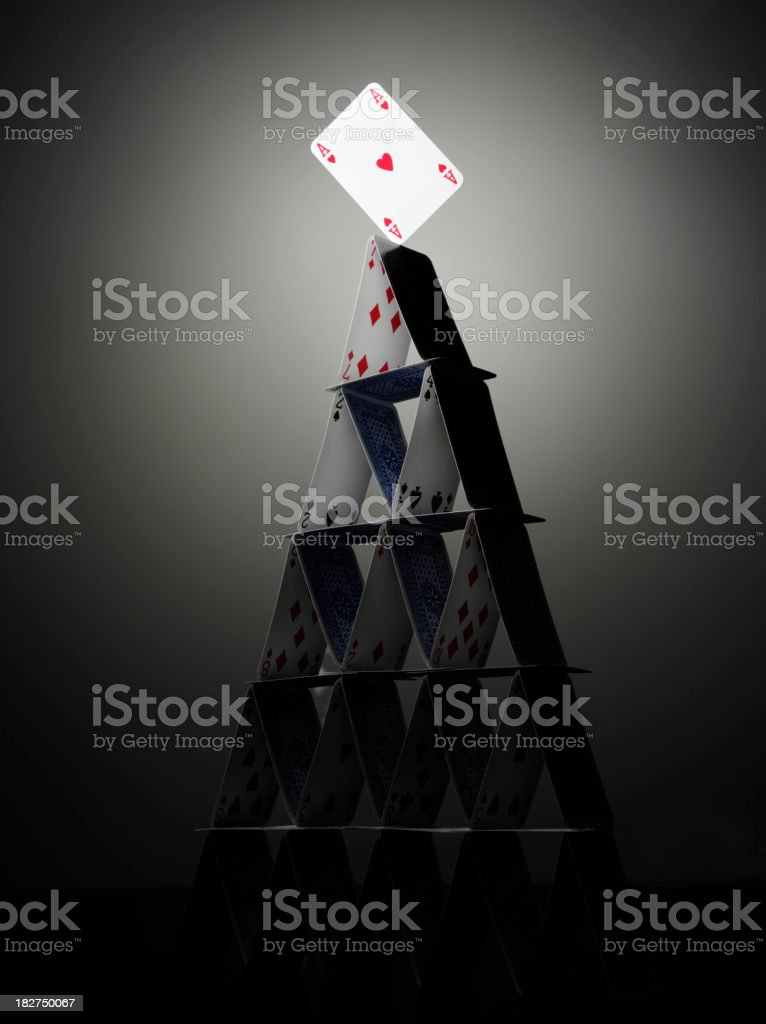 Tower of Playing Cards stock photo