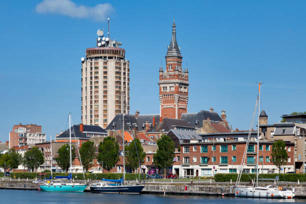 Tower of Reuze and the belfry of the town hall of Dunkirk stock photo