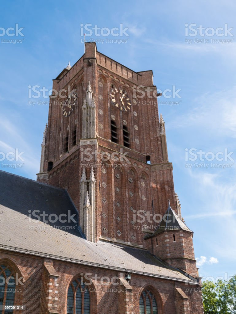 Tower of Saint Martin's Church in fortified town of Woudrichem, Netherlands stock photo
