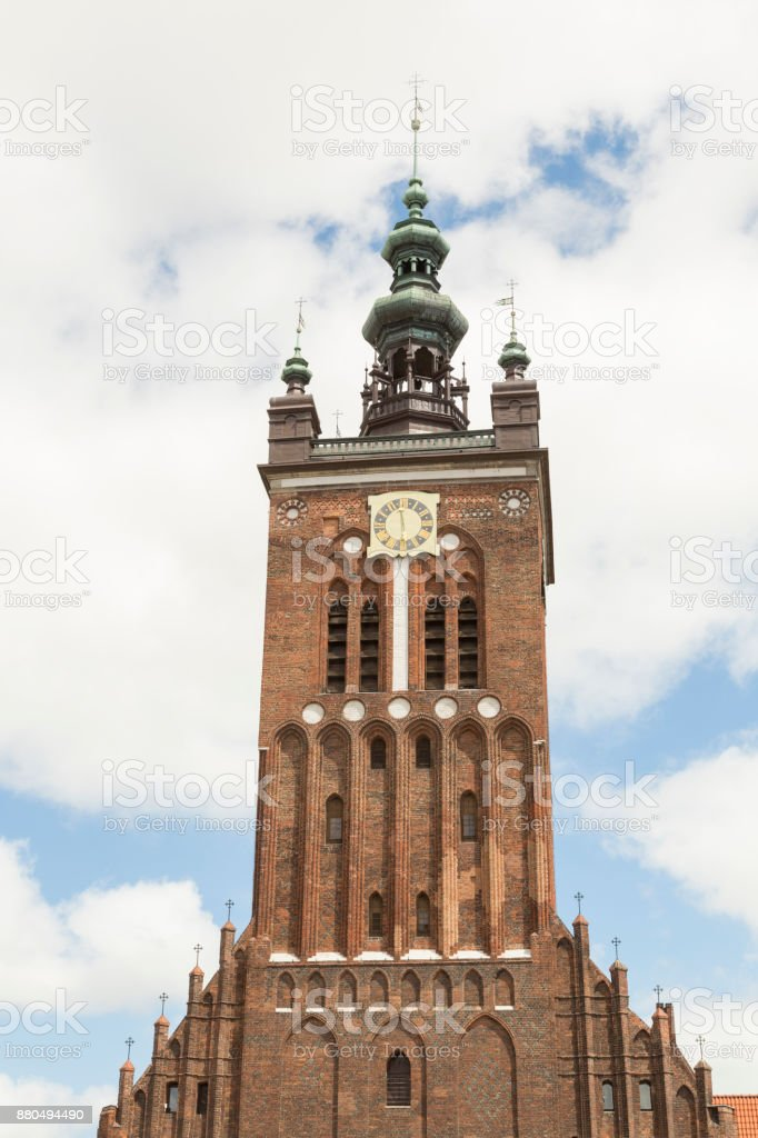 Tower of St. Catherine's Church in Gdansk, Danzig in Poland stock photo