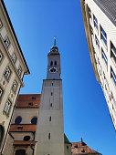 Munich, Germany - June 28, 2019: Tower of St. Peter's Church, Munich, Germany.