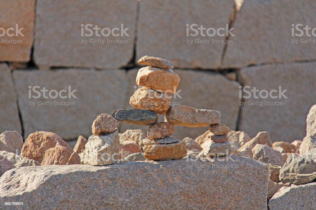 Toren van stenen in Hampi, Karnataka, India - Royalty-free Balans Stockfoto