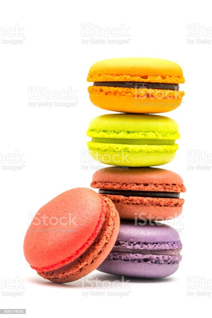 Tower of sweet macarons stock photo