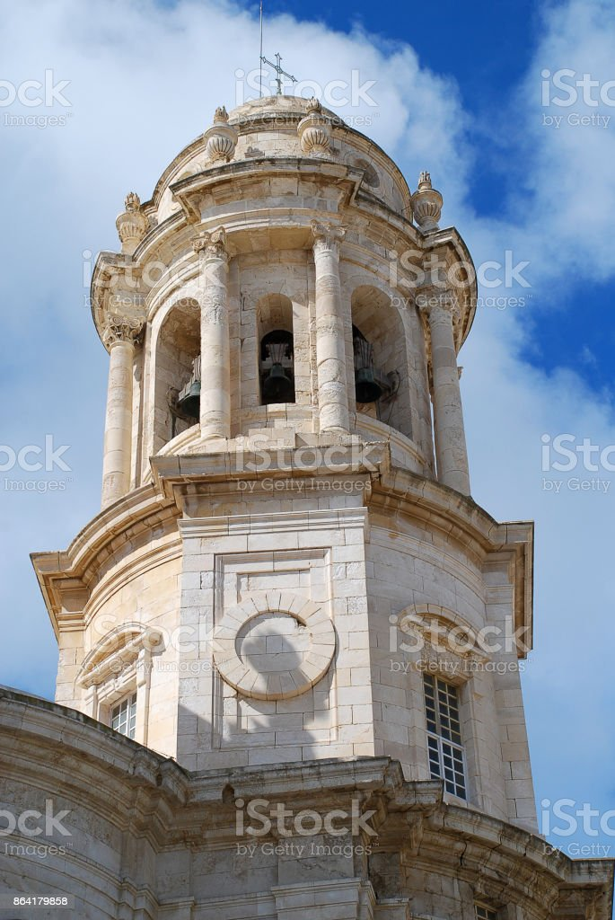Tower of the Cadiz Cathedral, Cadiz, Spain royalty-free stock photo