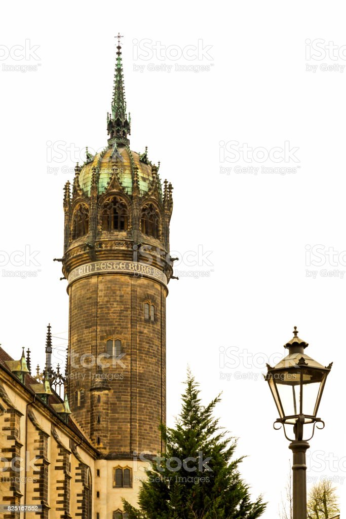 Tower of the castle church in Lutherstadt stock photo