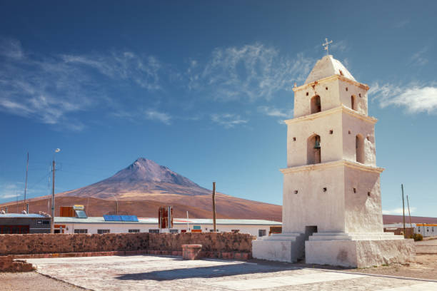 tower of the church of cariquima, near colchane, in the tarapaca region, in the foothills of the cariquima mountain, chile - nord foto e immagini stock