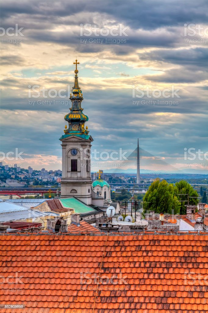 tower of the church stock photo