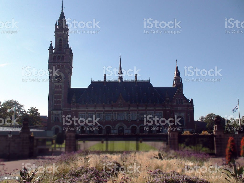 Tower Of The Hague Peace Palace Building And Beautiful Sky stock photo