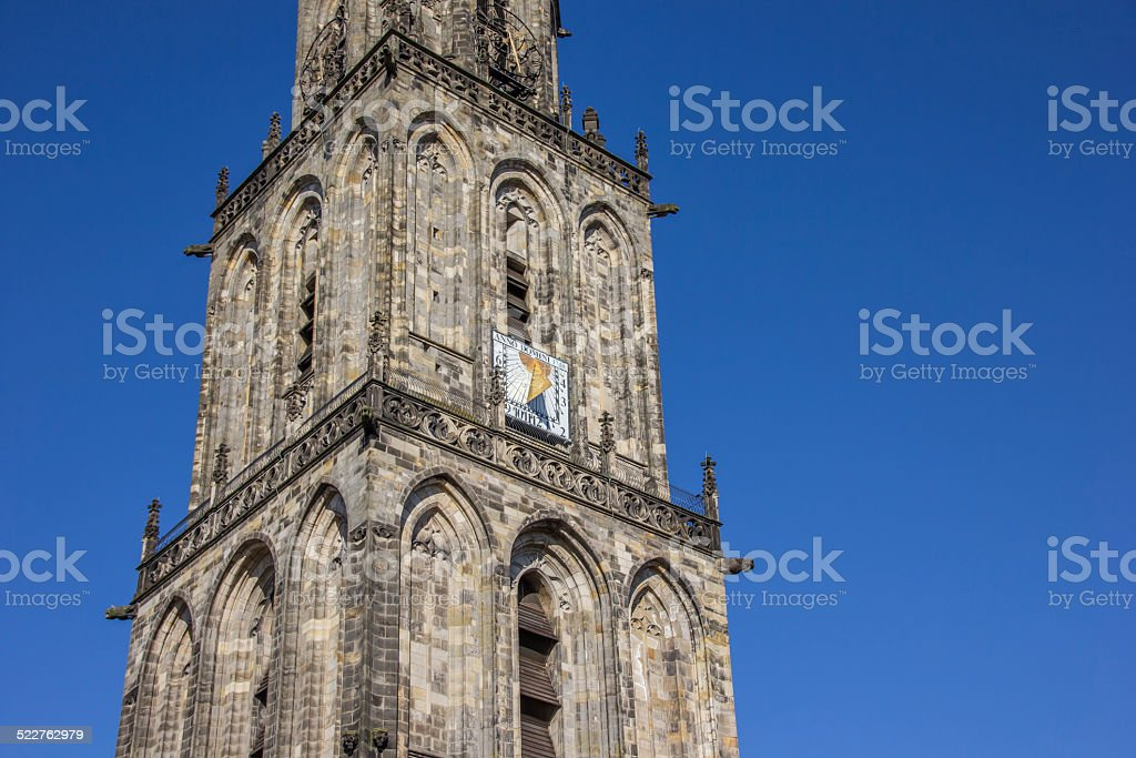 Tower of the Martini church in Groningen stock photo