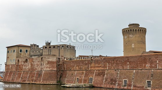 Bologna, Italy - July 10, 2019: Medieval Vecchia fort facade in Livorno, Italy.