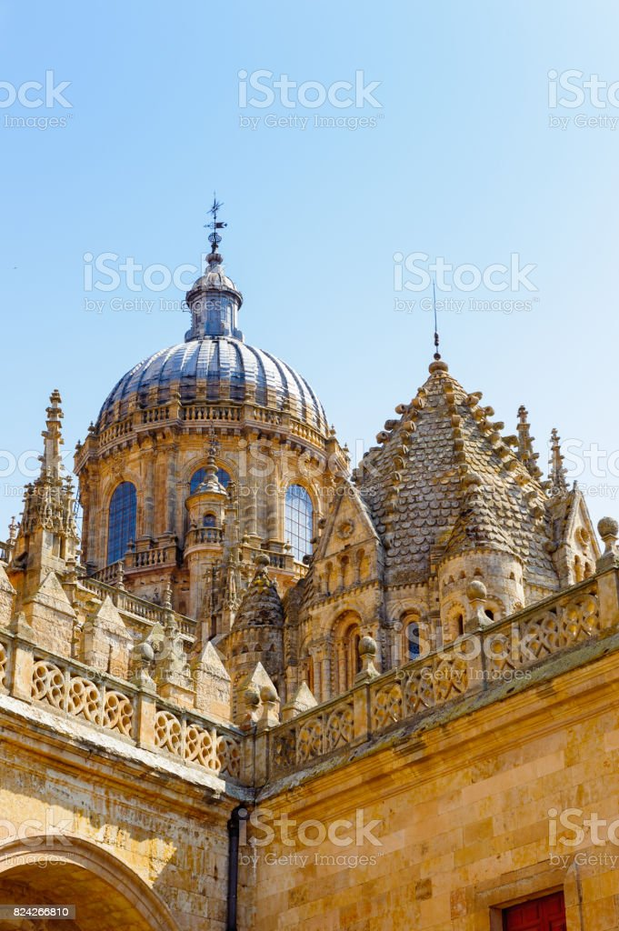 Tower of the New Cathedral of Salamanca, Spain stock photo