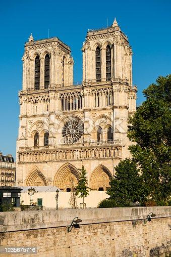 Tower of the Notre-Dame de Paris after the big fire, a medieval Catholic cathedral on the Île de la Cité in the 4th arrondissement of Paris.