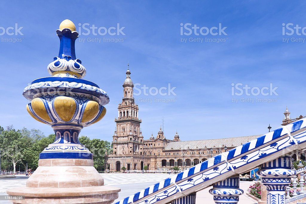 Tower of the plaza de Espana in Seville royalty-free stock photo