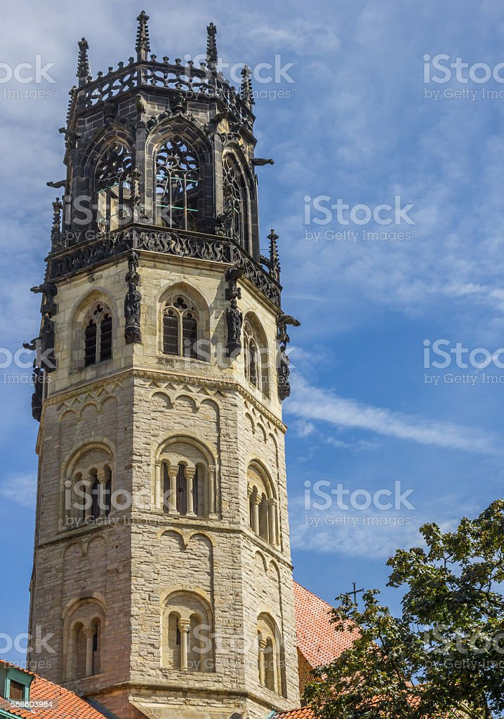 Tower of the st. Ludgeri church in Munster stock photo