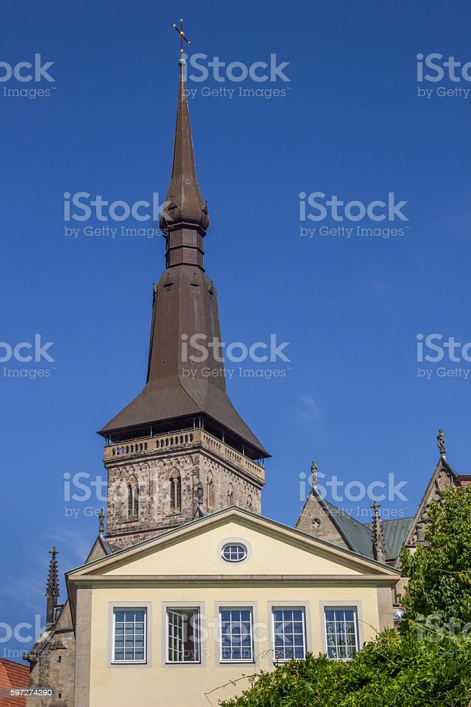 Tower of the St. Marien church in Osnabruck stock photo