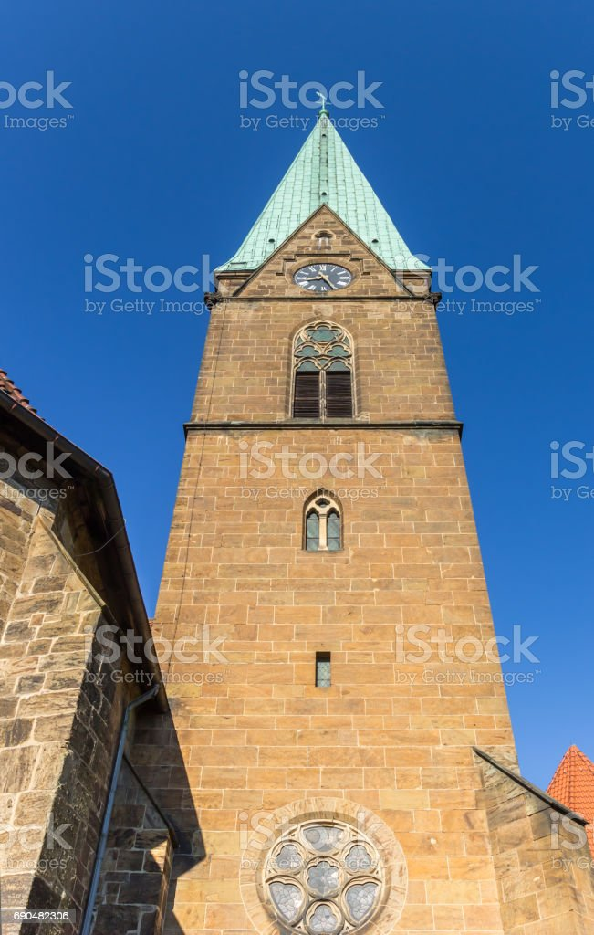 Tower of the St. Simeonis church of Minden, Germany stock photo