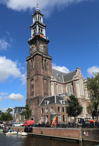 toren van de westerkerk te amsterdam - westerkerk stockfoto's en -beelden