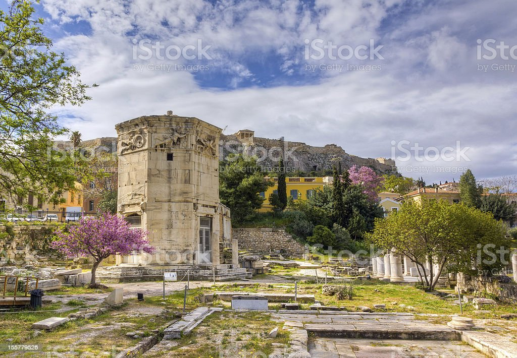 Tower of the Winds, Acropolis in background, Athens, Greece stock photo