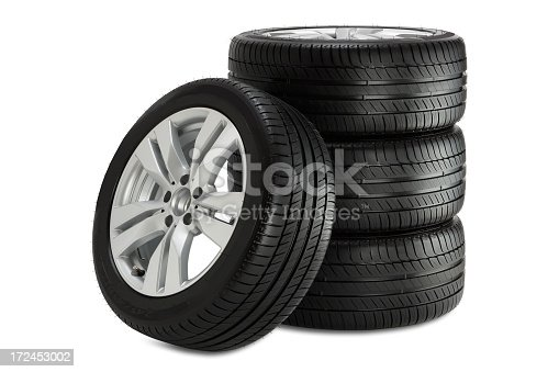 Car wheel on white background. Clipping path included.