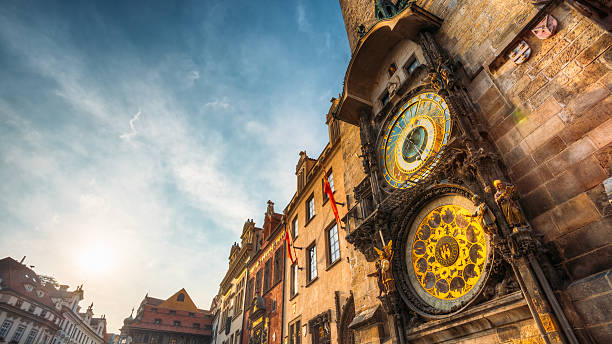 Tower of town hall in Prague, Czech Republic. Tower of town hall with astronomical clock - orloj in Prague, Czech Republic astronomical clock prague stock pictures, royalty-free photos & images