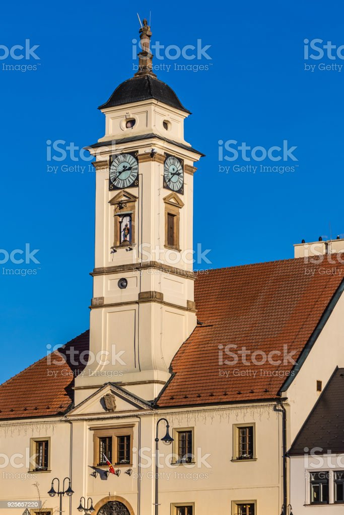 Tower Of Town Hall - Uhersky Brod, Czech Republic stock photo