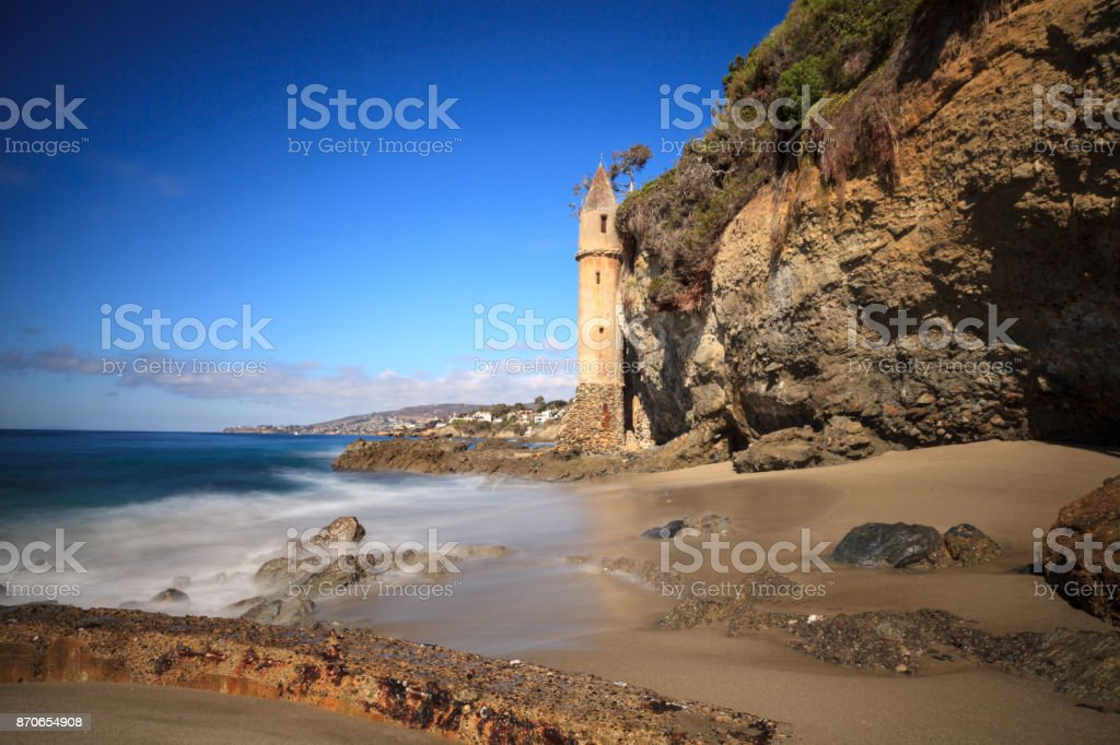 Tower over Rocky shores at Victoria Beach stock photo
