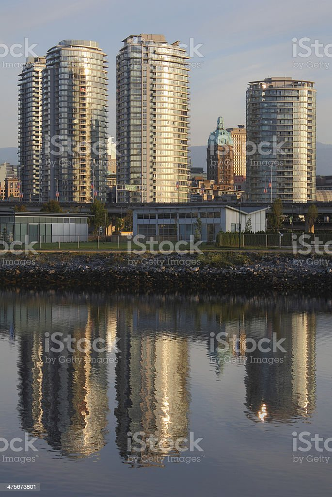 Tower Reflections, False Creek, Vancouver royalty-free stock photo