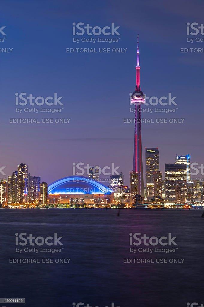 CN Tower Rogers Centre Toronto illuminated cityscape at dusk Canada royalty-free stock photo