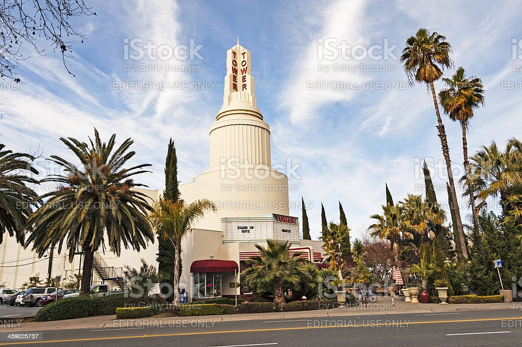 Tower Theater with road royalty-free stock photo
