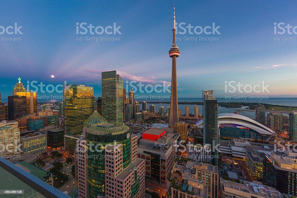 CN Tower, Toronto Cityscape on Lake Ontario stock photo