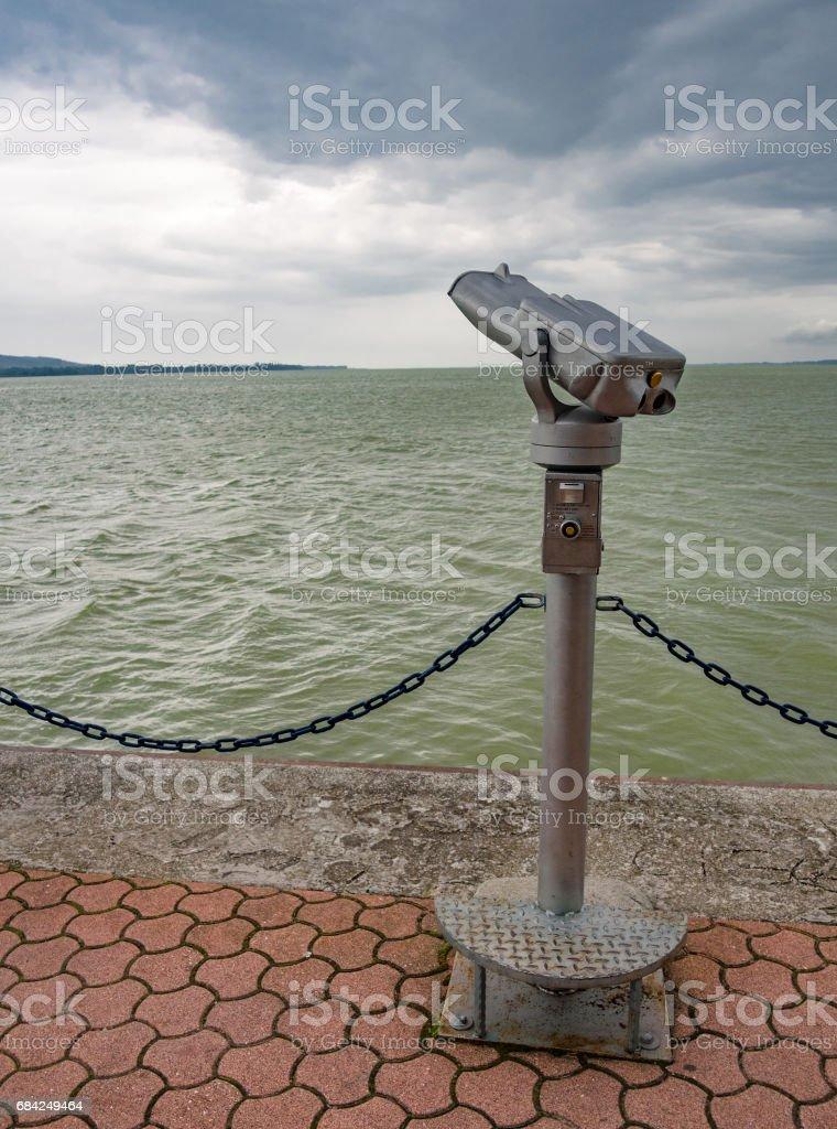 Tower viewer on Lake Balaton. Keszthely, Hungary. stock photo