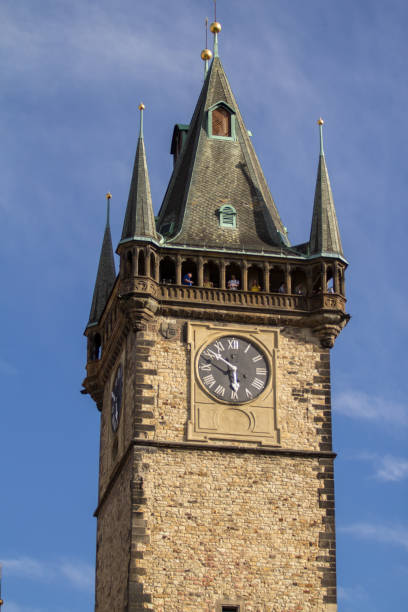 Tower with Astronomical clock in Prague Exterior view of the Tower with Astronomical clock in Prague, Czech Republic astronomical clock prague stock pictures, royalty-free photos & images