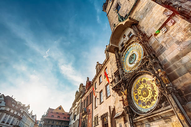 Tower With Astronomical Clock - Orloj In Prague, Czech Republic Tower Of Town Hall With Astronomical Clock - Orloj In Prague, Czech Republic astronomical clock prague stock pictures, royalty-free photos & images