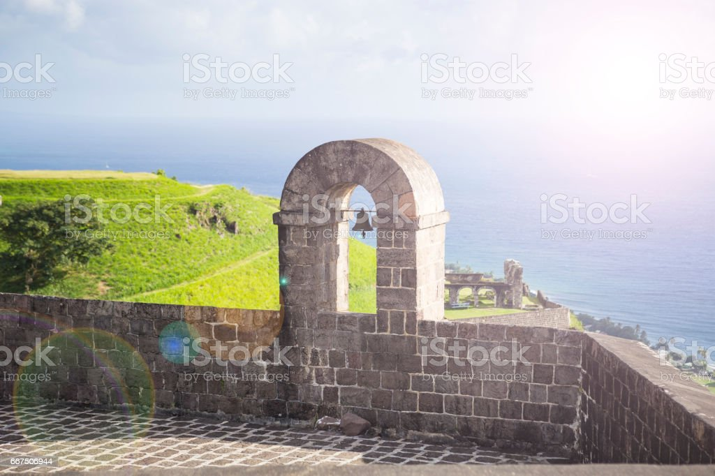 Tower with bell at Brimstone Hill Fortress, St. Kitts, West Indies. stock photo