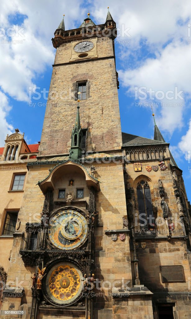 tower with clock in Prague in Czech Republic stock photo