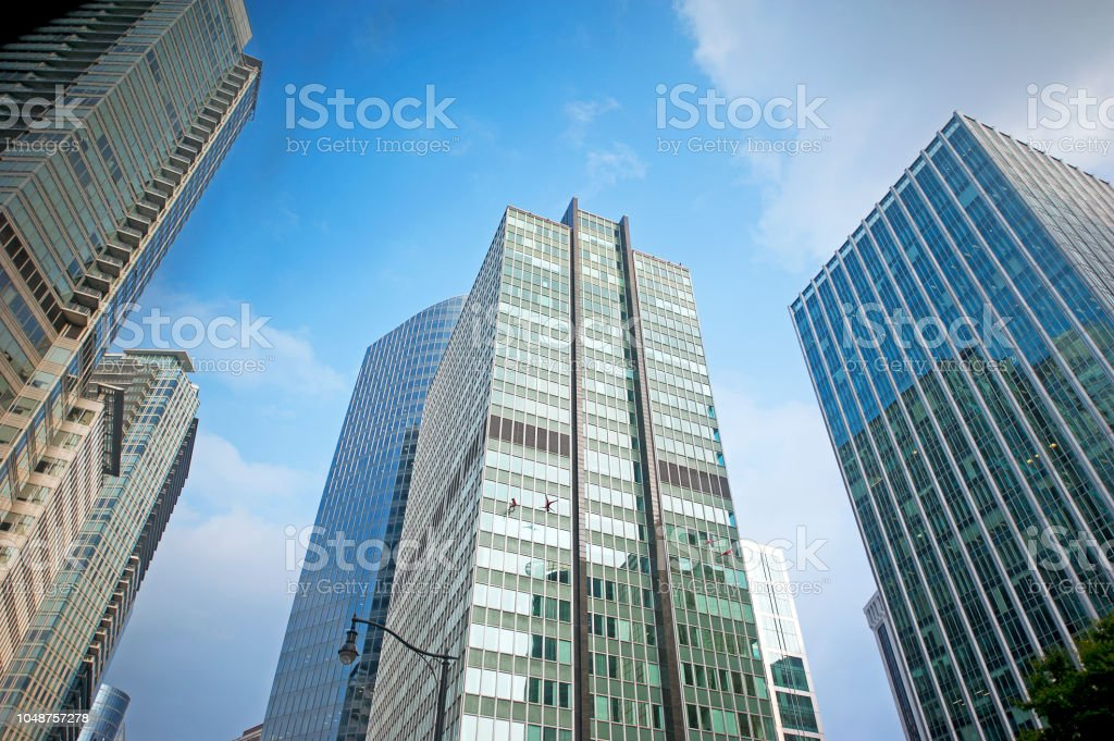 Vancouver skyscraper city skyline, showing modern shapes next to...