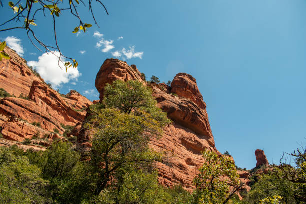 Towering red rocks stock photo
