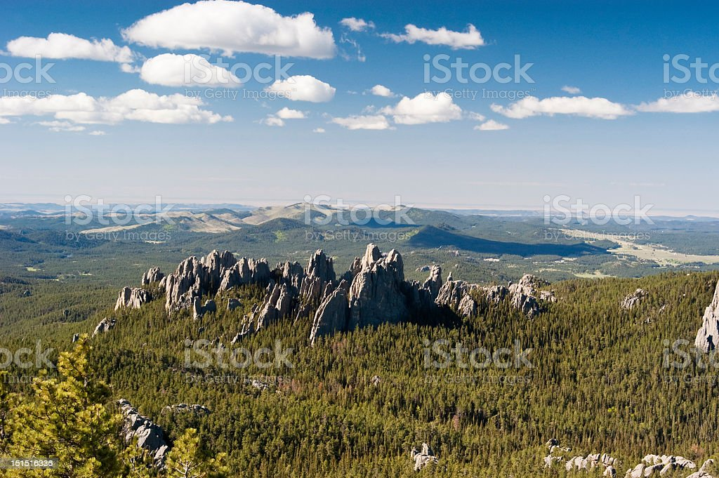 Towering rocky Black Hills over a mountain landscape stock photo