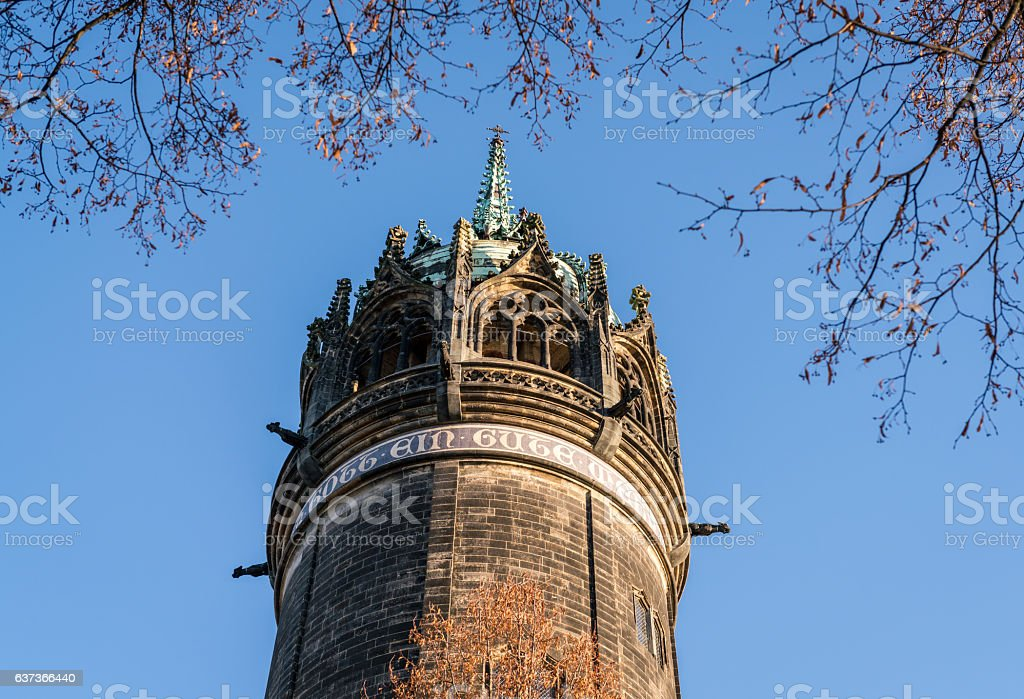 Towering spire where Martin Luther nailed the ninety-five theses stock photo