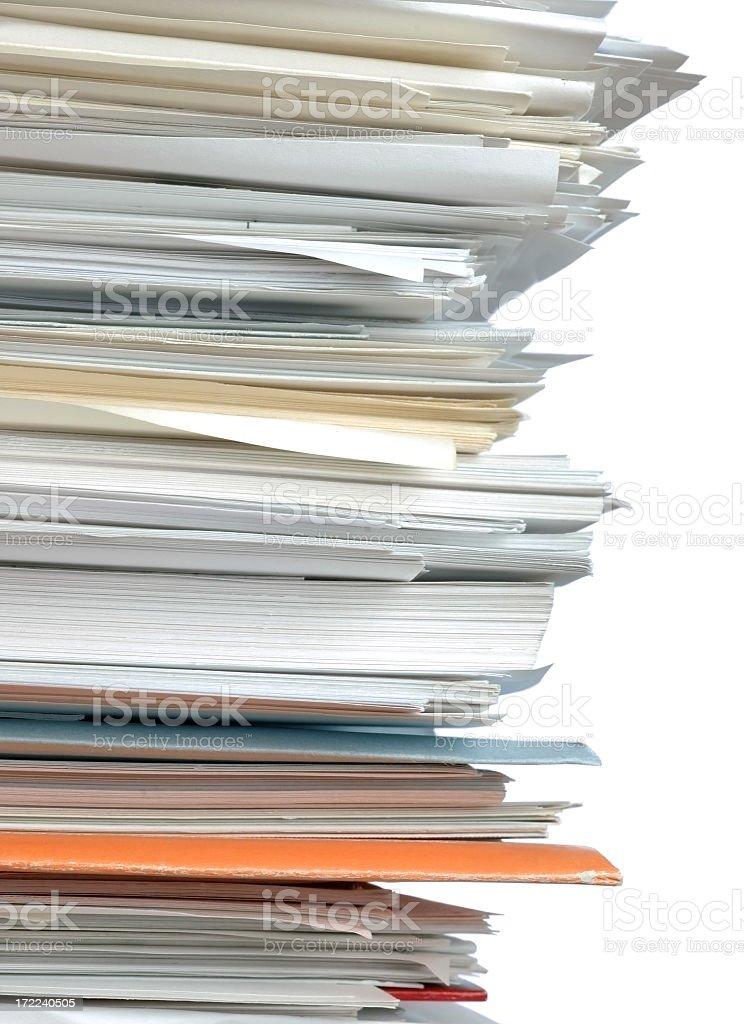 Towering stack of paperwork royalty-free stock photo