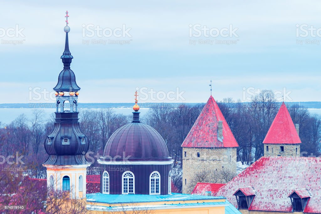 Towers and spire of Old town of Tallinn stock photo