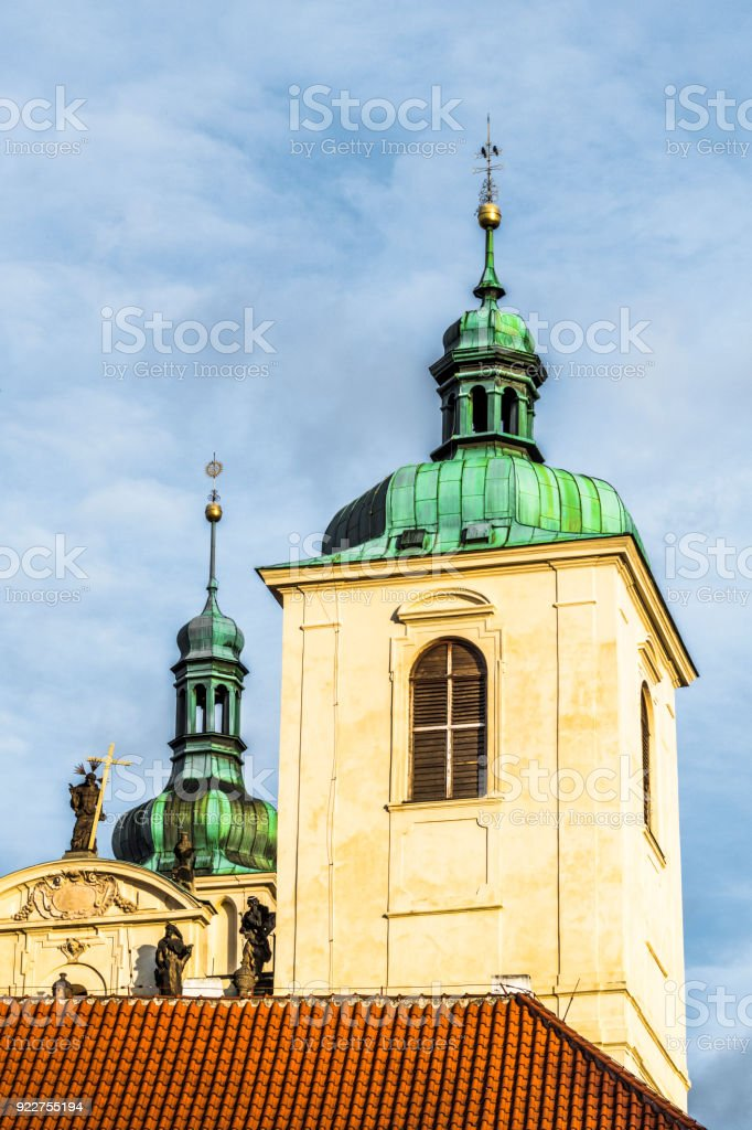 Towers and spires of old Prague stock photo