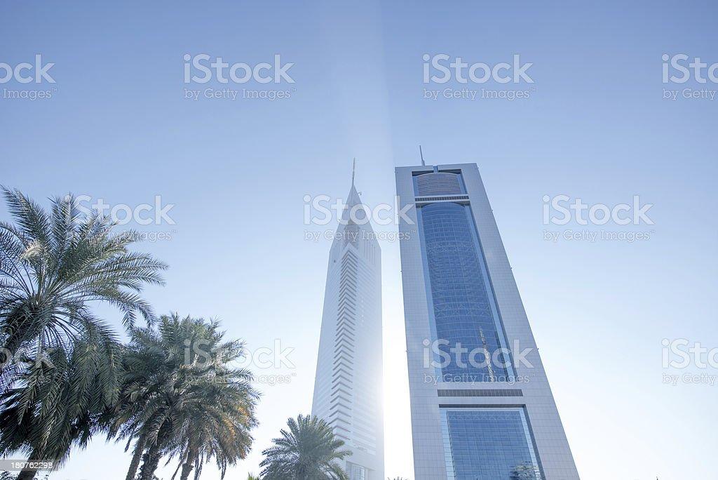 Towers and sunight stock photo