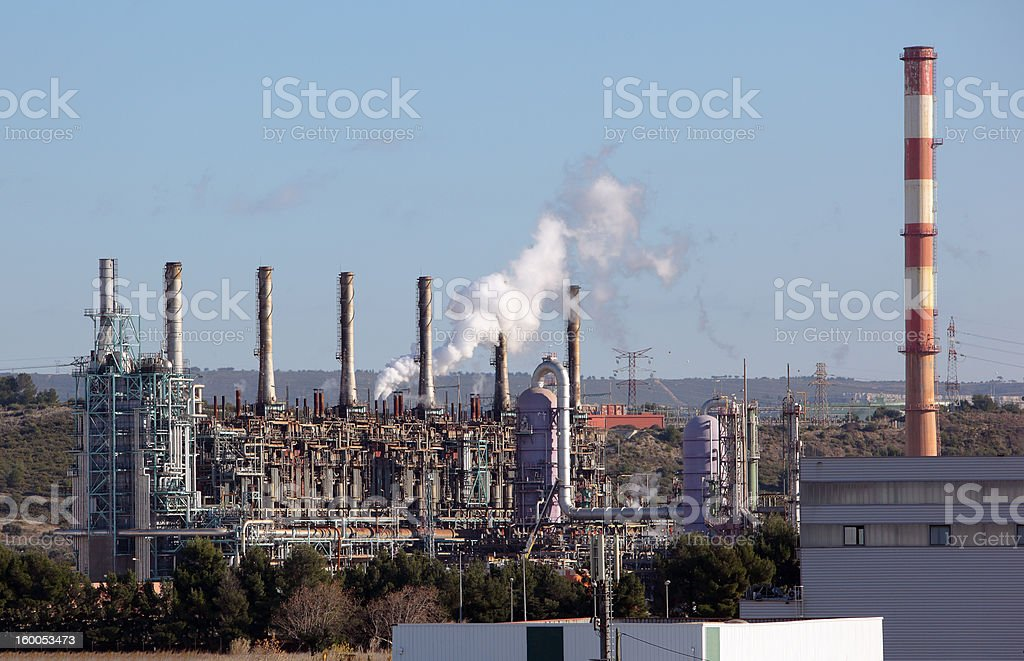 Towers in an oil refinery royalty-free stock photo