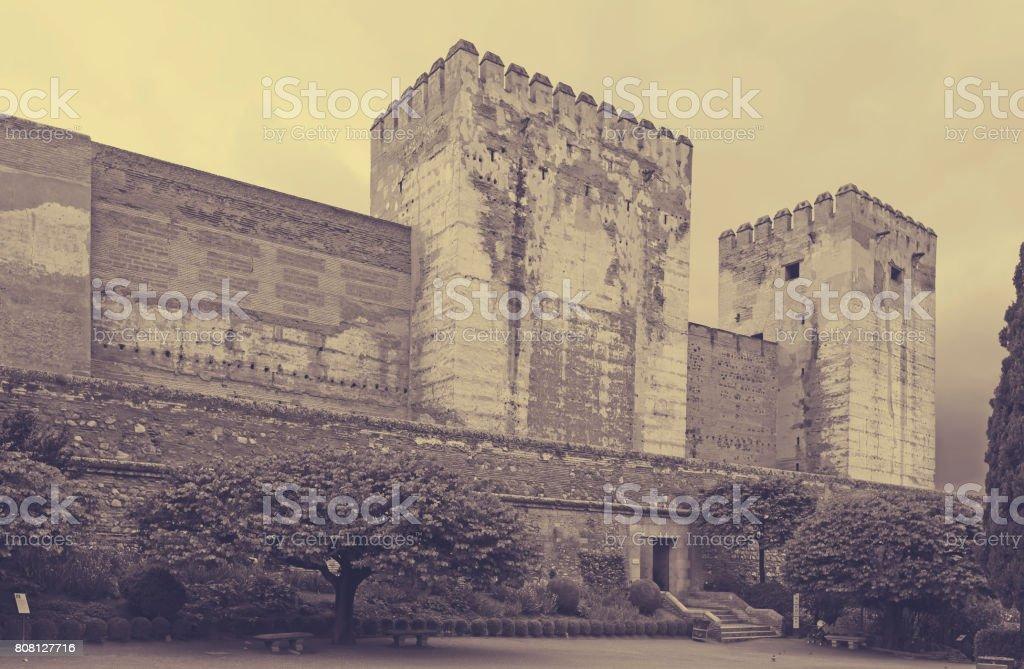 Towers of Alcazaba at Alhambra stock photo