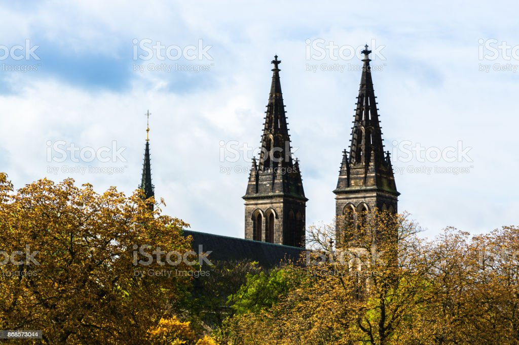 Towers of Basilica of St. Peter and St. Paul in Prague, Czech Republic stock photo