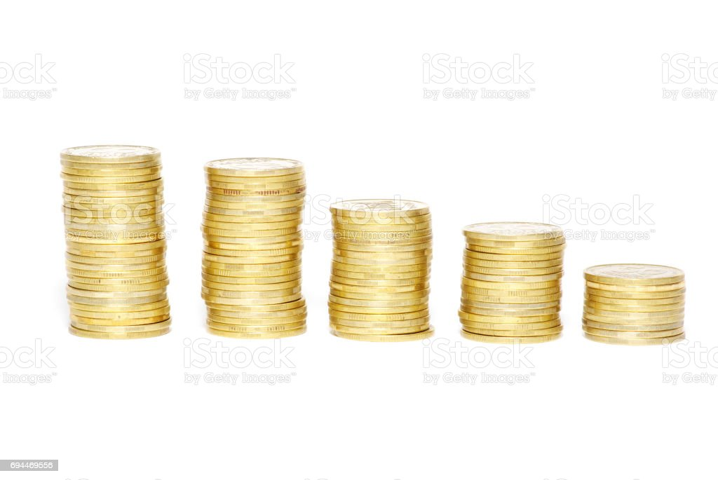 towers of coins stock photo