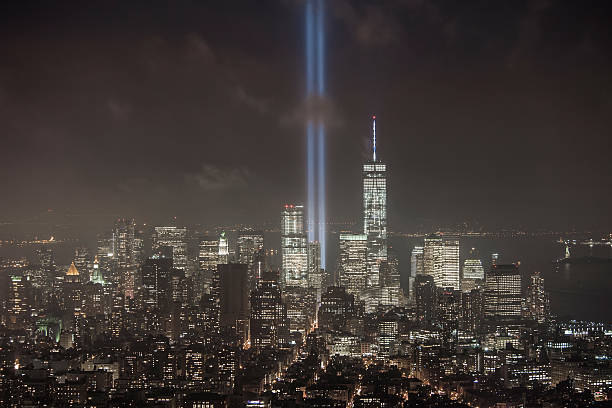 Towers of Light in Lower Manhattan stock photo