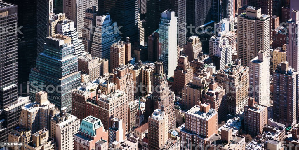 Towers of Manhattan - isometric high angle view stock photo