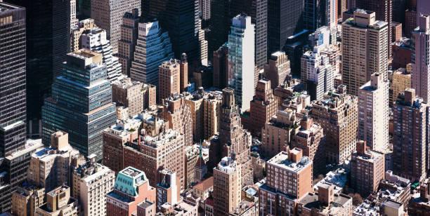 Torres de Manhattan - vista de ángulo alto isométrica - foto de stock